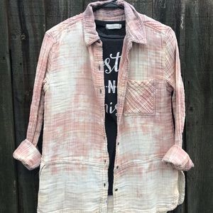 Upcycled distressed bleached flannel size small